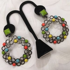 Vintage Multicolor Mod Hoop Earrings